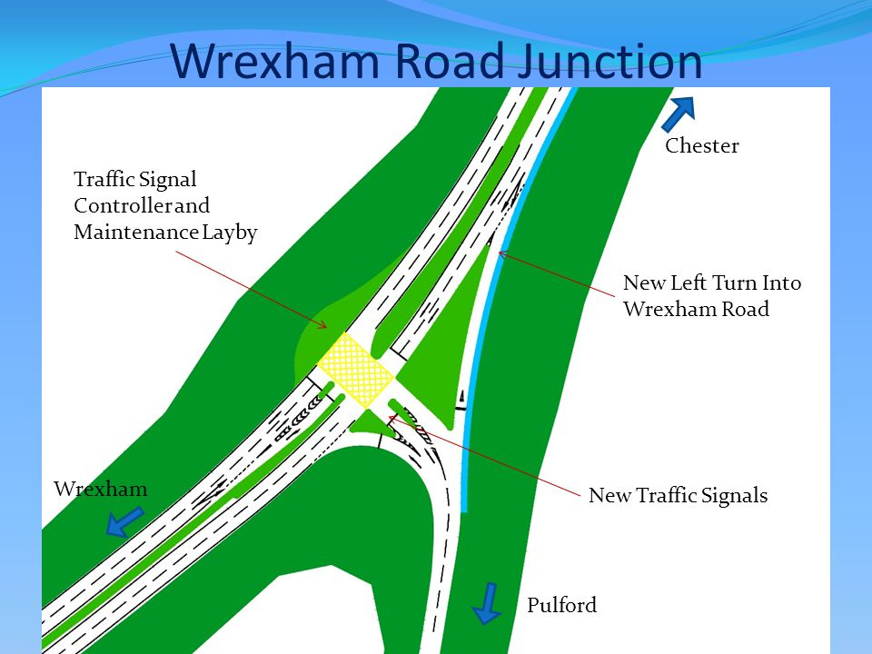 Wrexham Road Junction New Left Turn Into Wrexham Road Traffic Signal Controller and Maintenance Layby New Traffic Signals Chester Wrexham Pulford