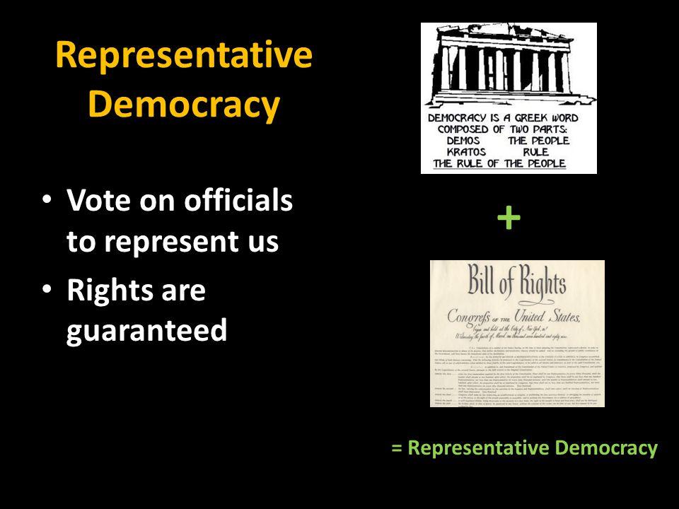 Representative Democracy Vote on officials to represent us Rights are guaranteed + = Representative Democracy