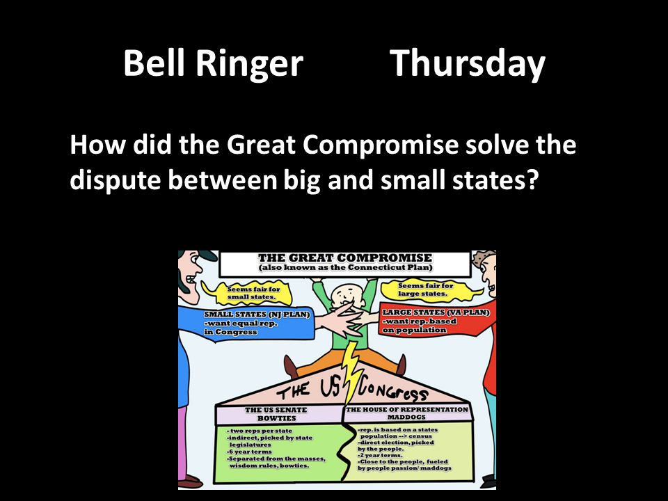 Bell RingerThursday How did the Great Compromise solve the dispute between big and small states?