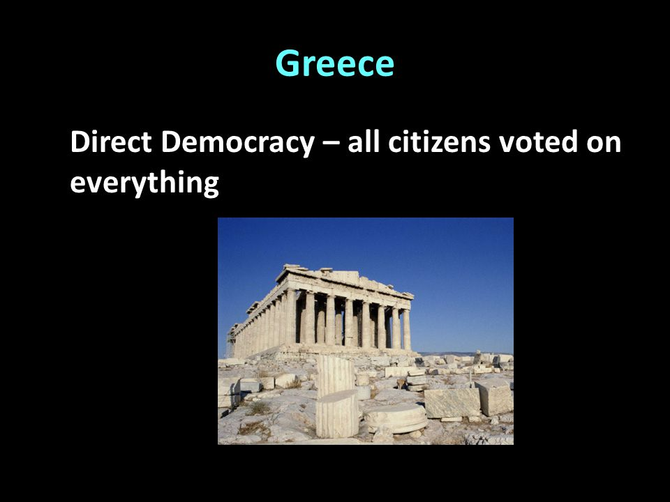 Greece Direct Democracy – all citizens voted on everything