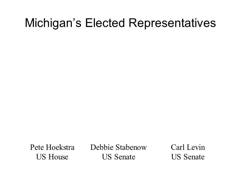 Michigan's Elected Representatives Pete Hoekstra US House Debbie Stabenow US Senate Carl Levin US Senate