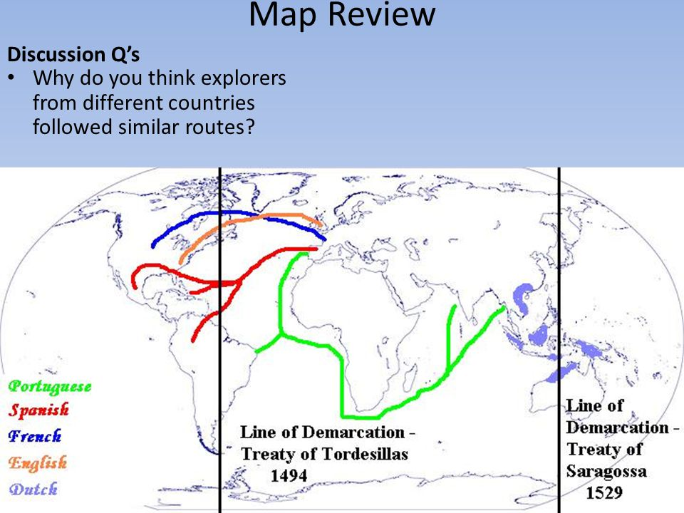 Map Review Discussion Q's Why do you think explorers from different countries followed similar routes?