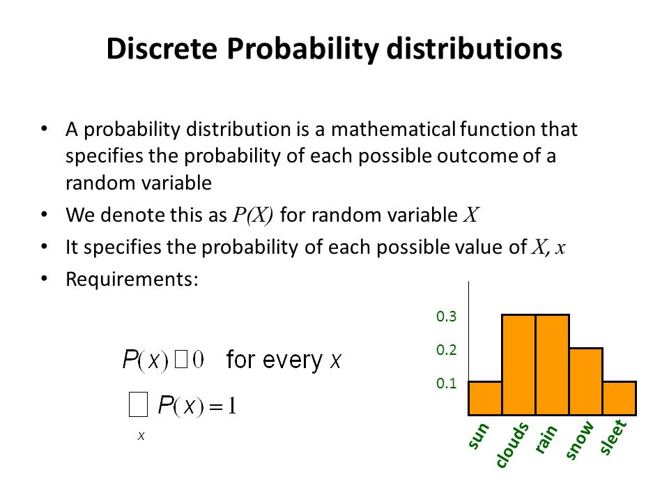 Discrete Probability distributions A probability distribution is a mathematical function that specifies the probability of each possible outcome of a random variable We denote this as P(X) for random variable X It specifies the probability of each possible value of X, x Requirements: sun clouds rain snow sleet 0.2 0.3 0.1