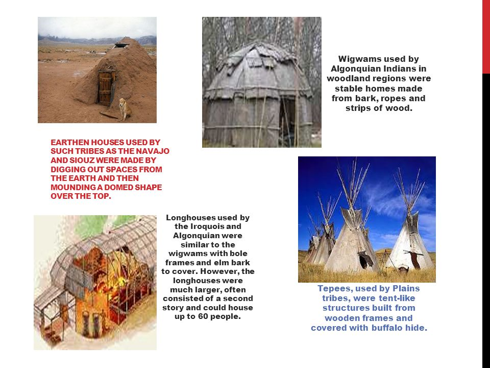 LONGHOUSES The Pacific Northwest tribes constructed longhouses from cedar planks.