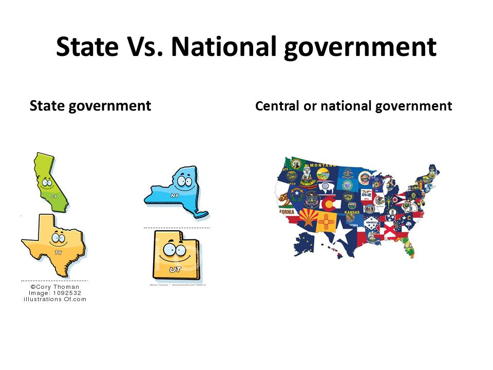 State Vs. National government State government Central or national government