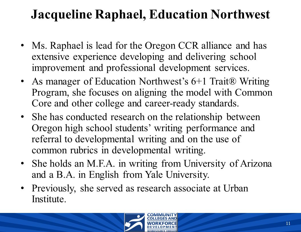 Jacqueline Raphael, Education Northwest Ms.