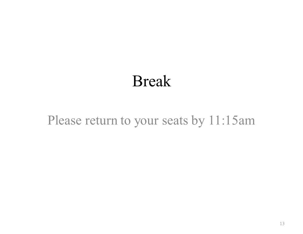 Break 13 Please return to your seats by 11:15am