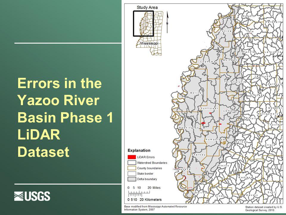 Errors in the Yazoo River Basin Phase 1 LiDAR Dataset