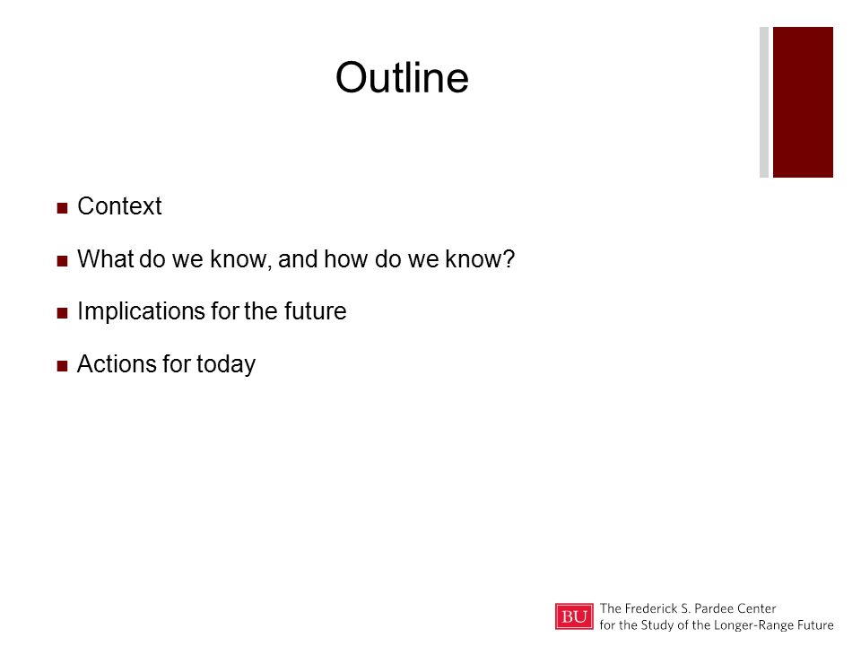 Outline Context What do we know, and how do we know Implications for the future Actions for today