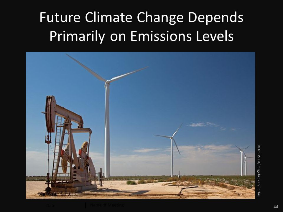 Date Name of Meeting 44 Future Climate Change Depends Primarily on Emissions Levels © Jim West/imagebroker/Corbis