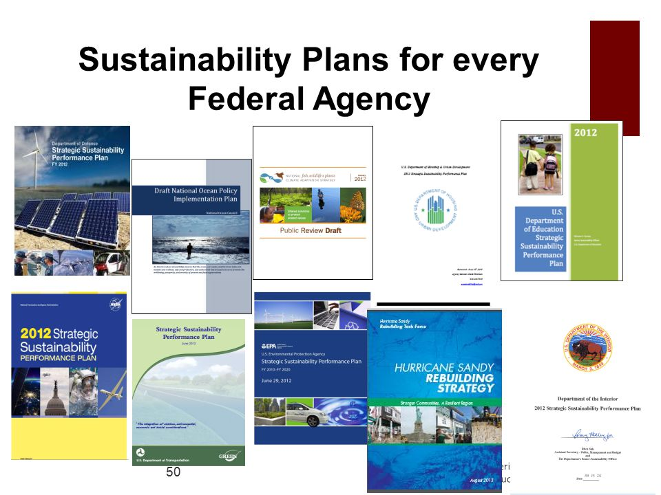 Sustainability Plans for every Federal Agency 50