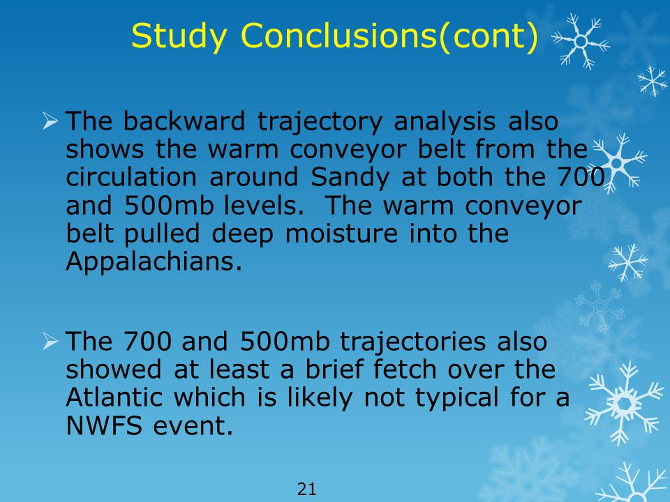Study Conclusions(cont)  The backward trajectory analysis also shows the warm conveyor belt from the circulation around Sandy at both the 700 and 500mb levels.