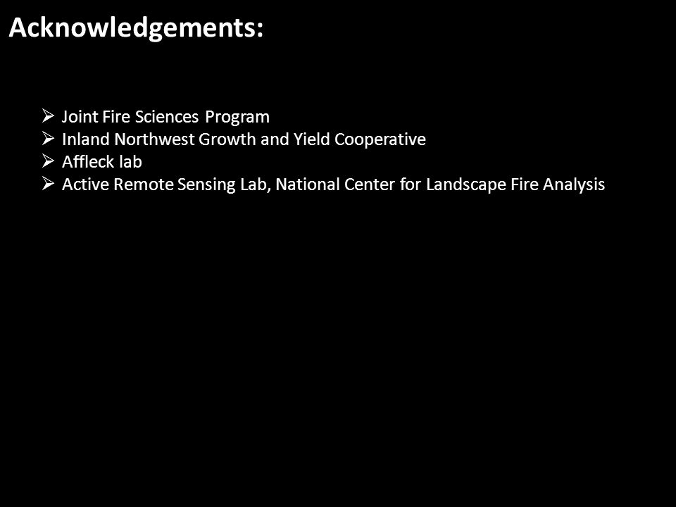 Acknowledgements:  Joint Fire Sciences Program  Inland Northwest Growth and Yield Cooperative  Affleck lab  Active Remote Sensing Lab, National Ce