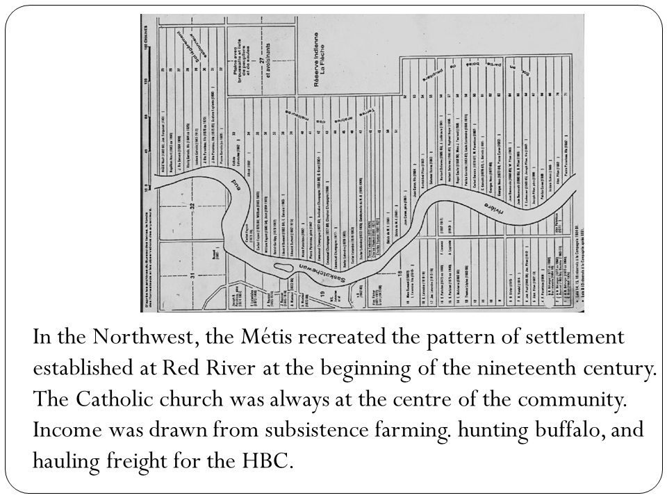 In the Northwest, the Métis recreated the pattern of settlement established at Red River at the beginning of the nineteenth century.
