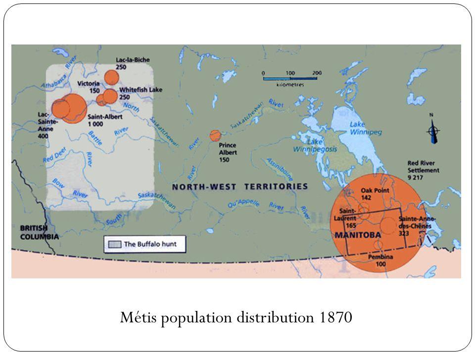 Métis population distribution 1870