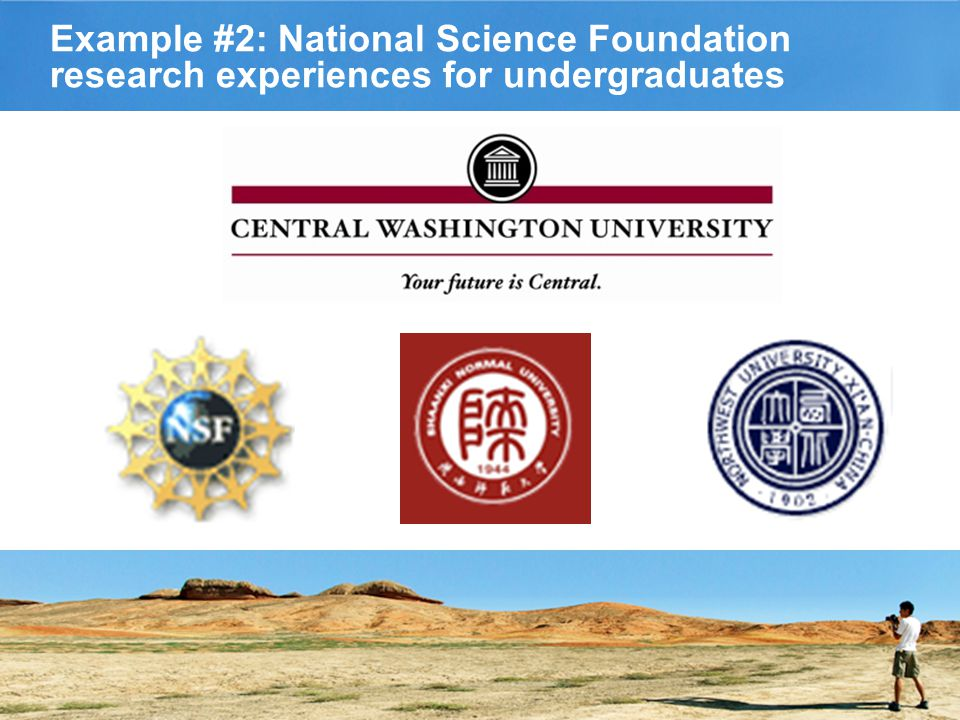 Example #2: National Science Foundation research experiences for undergraduates