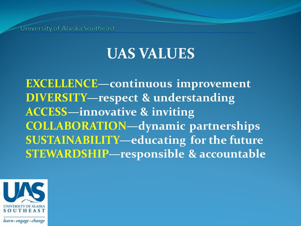 UAS VALUES EXCELLENCE—continuous improvement DIVERSITY—respect & understanding ACCESS—innovative & inviting COLLABORATION—dynamic partnerships SUSTAINABILITY—educating for the future STEWARDSHIP—responsible & accountable