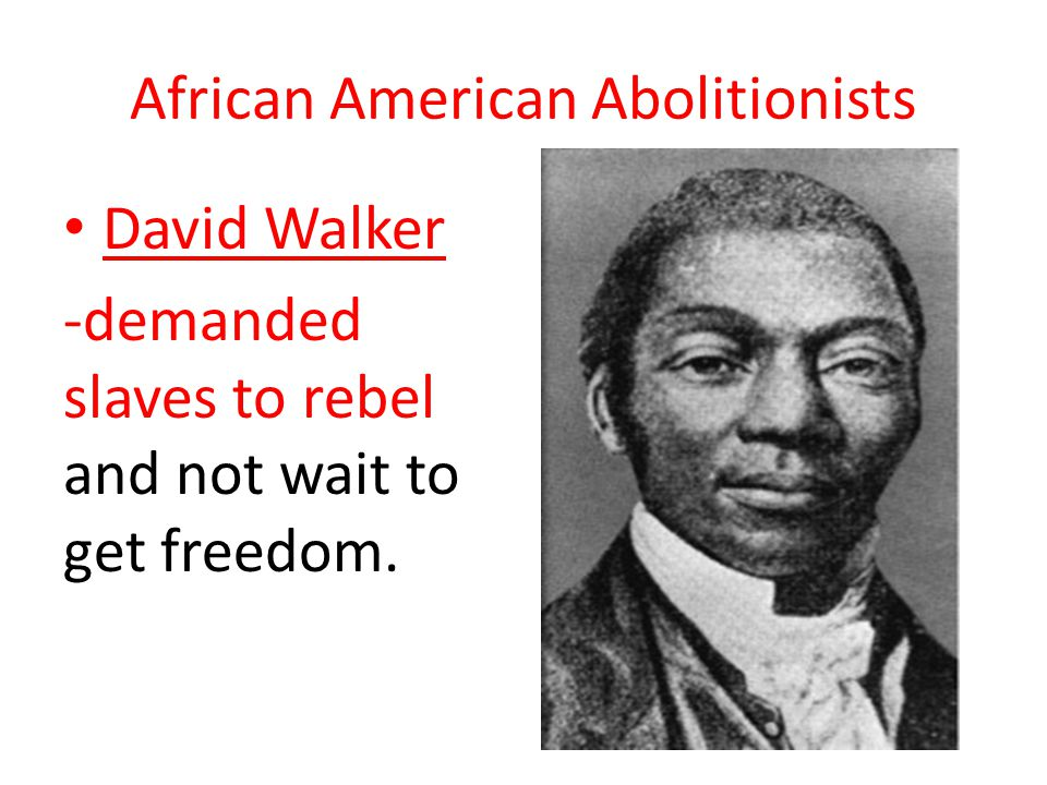 African American Abolitionists David Walker -demanded slaves to rebel and not wait to get freedom.