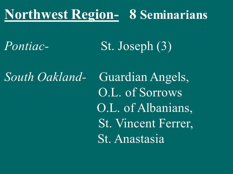 Northwest Region- 8 Seminarians Pontiac- St. Joseph (3) South Oakland- Guardian Angels, O.L.