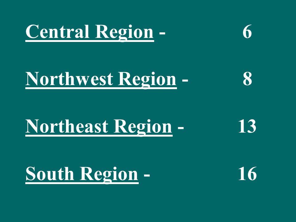 Central Region - 6 Northwest Region - 8 Northeast Region - 13 South Region - 16