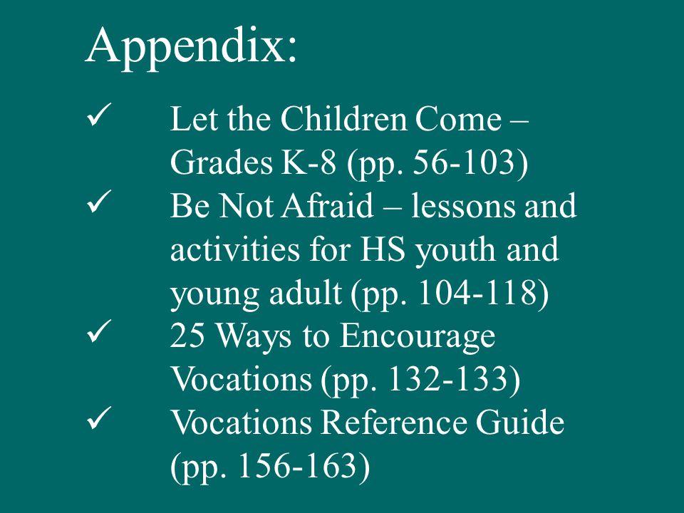 Appendix: Let the Children Come – Grades K-8 (pp.