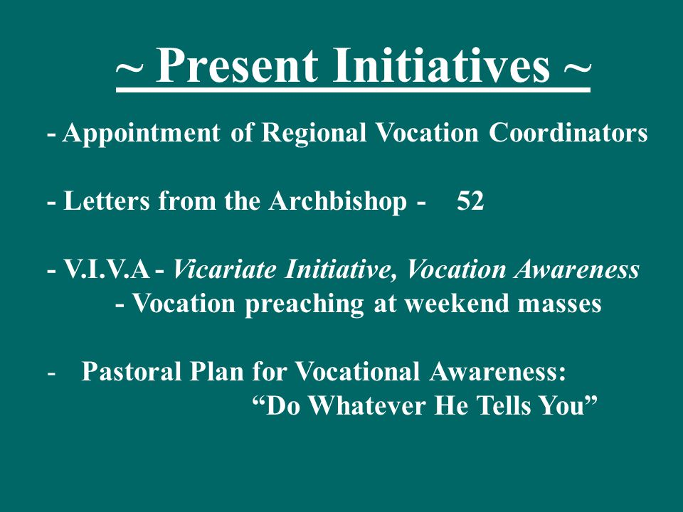 Progress Report: Pastoral Plan 'Do Whatever He Tells You' -April 15: Mailed to every parish in the AOD 1- printed copy of the 163 page Plan 2- CD's with the full Plan in chapter format -September 15: Vocation Convocation -October 15:Begin meeting with every Vicariate to present and explain the Plan.