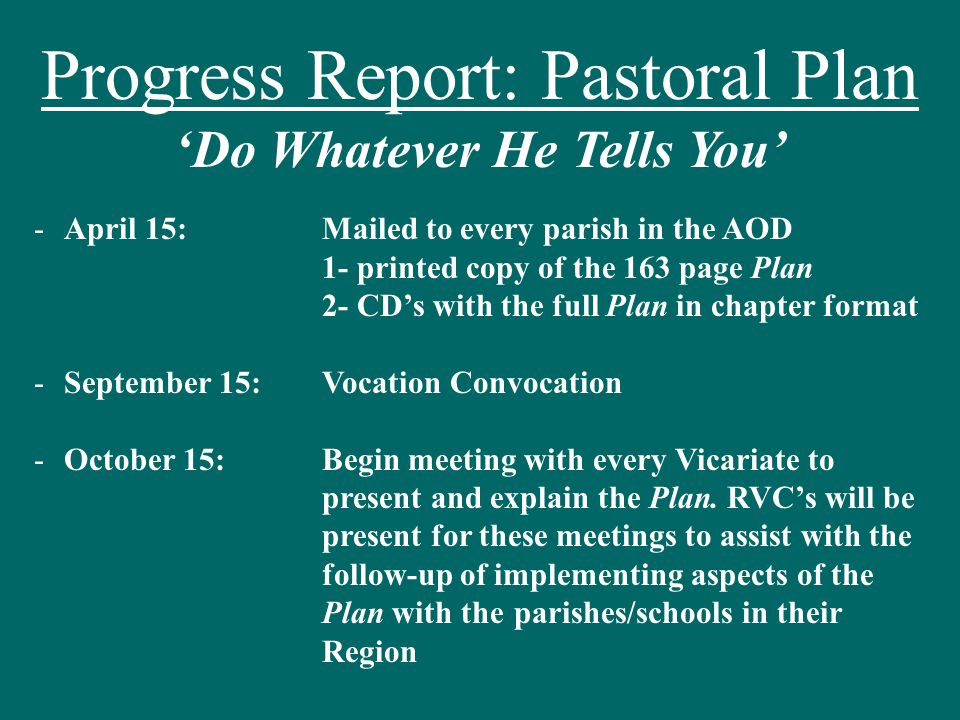 In Review: Invite, Invite, Invite Pray, Pray, Pray Implement Pastoral Plan Promote Vocation Programs Cooperate with RVC