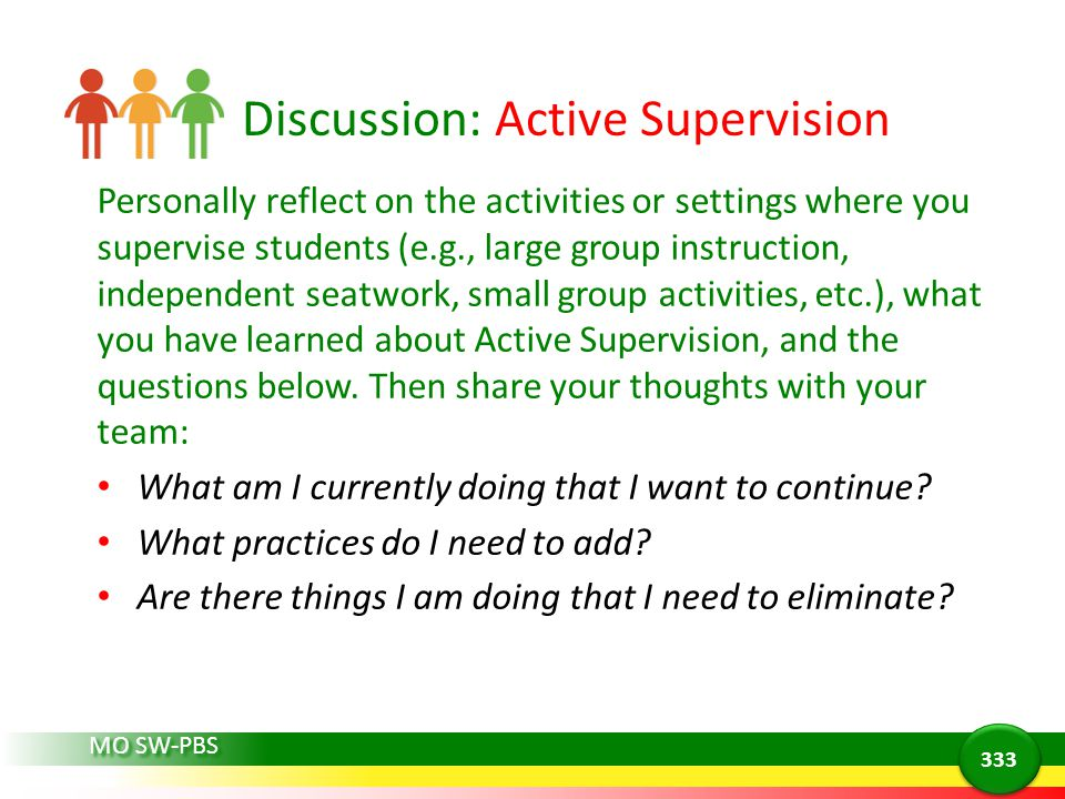 Discussion: Active Supervision Personally reflect on the activities or settings where you supervise students (e.g., large group instruction, independent seatwork, small group activities, etc.), what you have learned about Active Supervision, and the questions below.