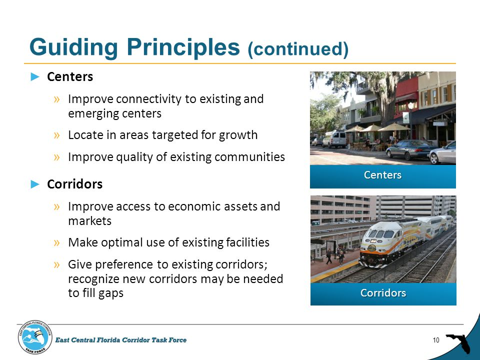 ► Centers » Improve connectivity to existing and emerging centers » Locate in areas targeted for growth » Improve quality of existing communities ► Corridors » Improve access to economic assets and markets » Make optimal use of existing facilities » Give preference to existing corridors; recognize new corridors may be needed to fill gaps Guiding Principles (continued) 10 Centers Corridors