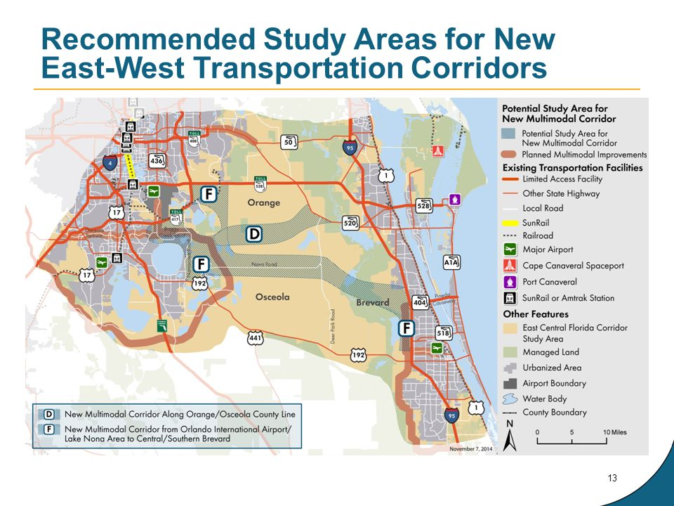Recommended Study Areas for New East-West Transportation Corridors 13