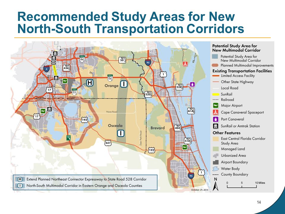 Recommended Study Areas for New North-South Transportation Corridors 14