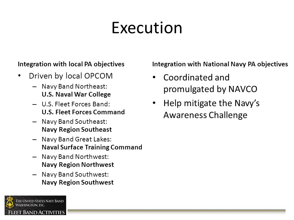 Execution Integration with local PA objectives Driven by local OPCOM – Navy Band Northeast: U.S.