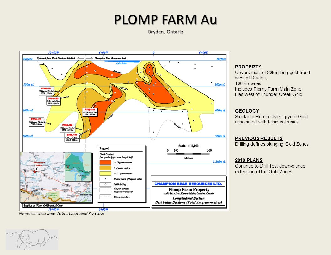 Plomp Farm Main Zone, Vertical Longitudinal Projection PLOMP FARM Au Dryden, Ontario PROPERTY Covers most of 20km long gold trend west of Dryden, 100% owned Includes Plomp Farm Main Zone Lies west of Thunder Creek Gold GEOLOGY Similar to Hemlo-style – pyritic Gold associated with felsic volcanics PREVIOUS RESULTS Drilling defines plunging Gold Zones 2010 PLANS Continue to Drill Test down-plunge extension of the Gold Zones
