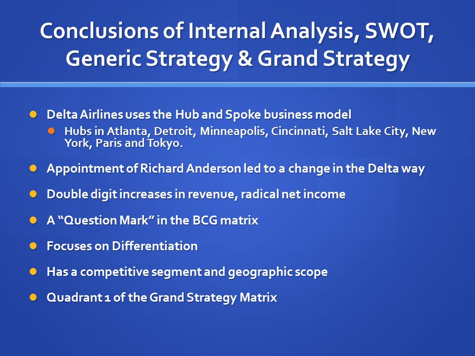 Conclusions of Internal Analysis, SWOT, Generic Strategy & Grand Strategy Delta Airlines uses the Hub and Spoke business model Delta Airlines uses the