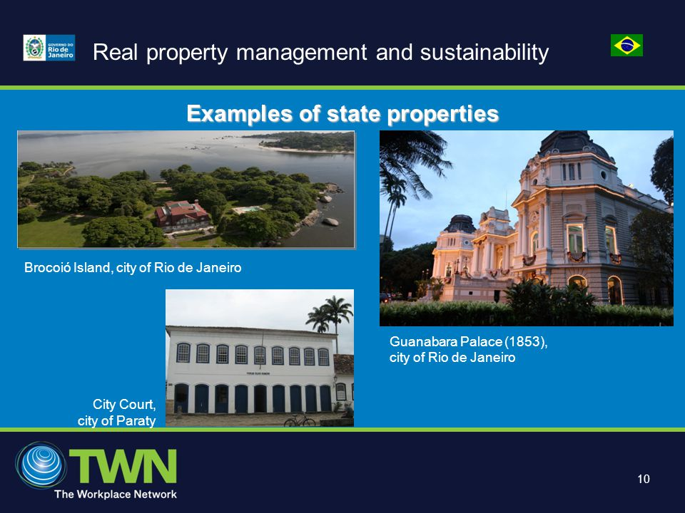10 Real property management and sustainability Brocoió Island, city of Rio de Janeiro Guanabara Palace (1853), city of Rio de Janeiro City Court, city of Paraty Examples of state properties
