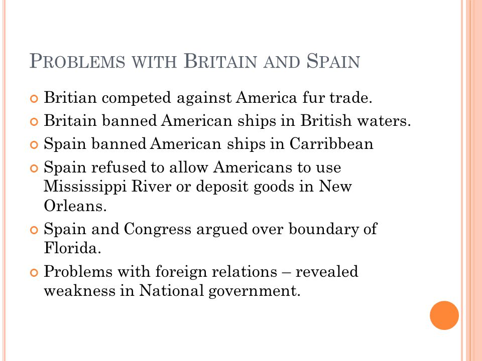 P ROBLEMS WITH B RITAIN AND S PAIN Britian competed against America fur trade.