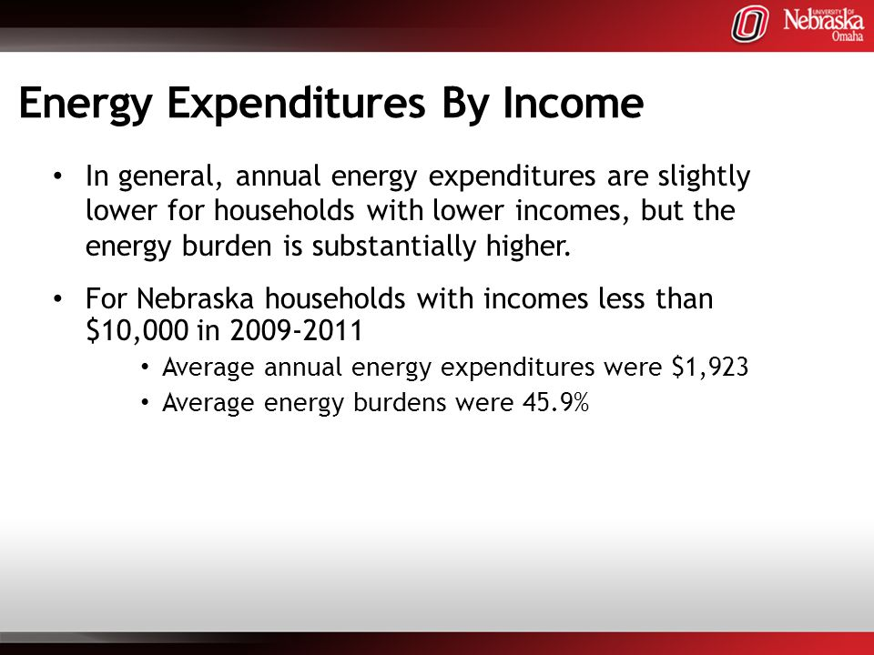 Energy Expenditures By Income In general, annual energy expenditures are slightly lower for households with lower incomes, but the energy burden is substantially higher.