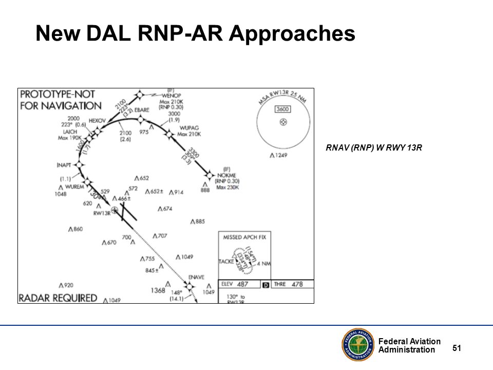 Federal Aviation Administration 51 New DAL RNP-AR Approaches RNAV (RNP) W RWY 13R