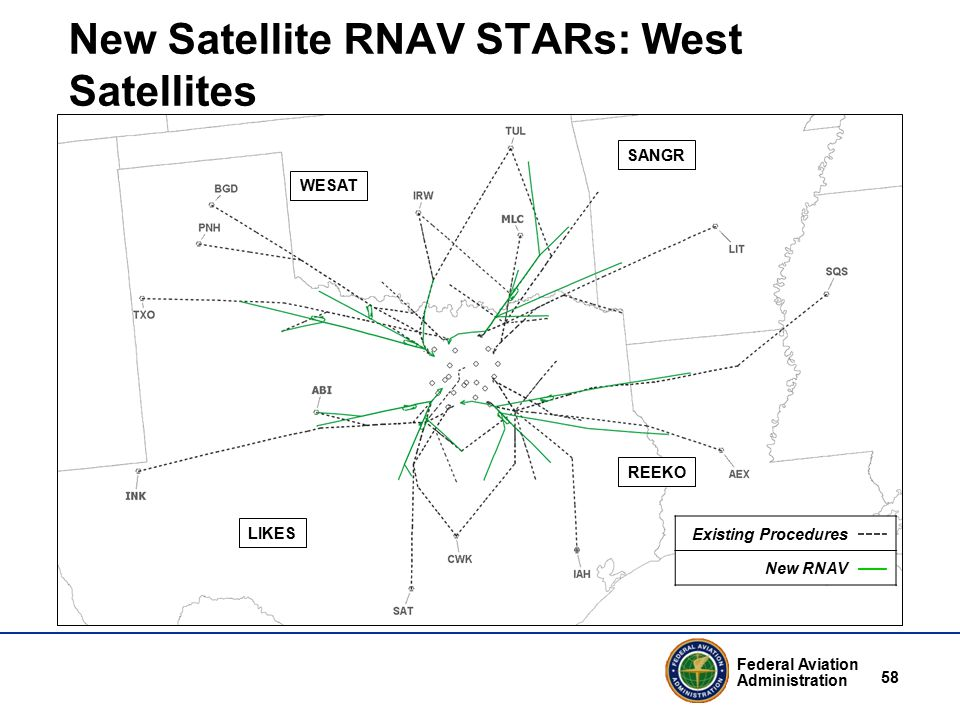 Federal Aviation Administration 58 New Satellite RNAV STARs: West Satellites WESAT REEKO SANGR LIKES Existing Procedures New RNAV