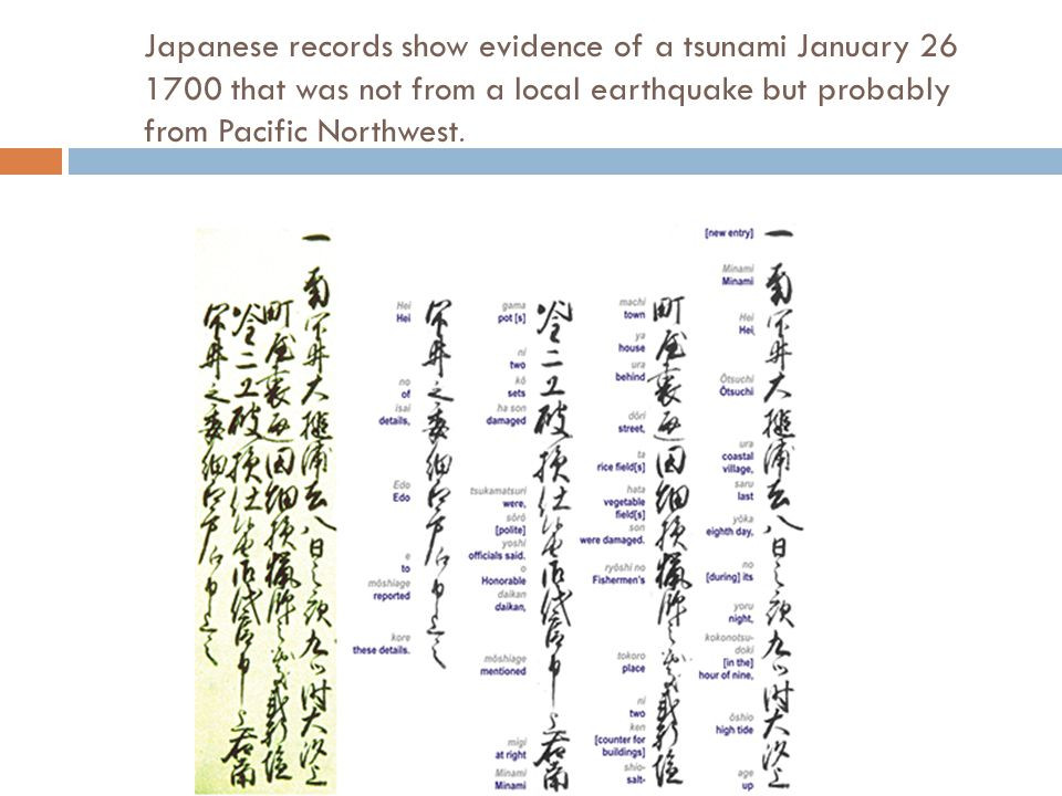 Kenji Sataki found Japanese records to tsunami occurrences along the country s eastern coastline between January 27 and 28, 1700.