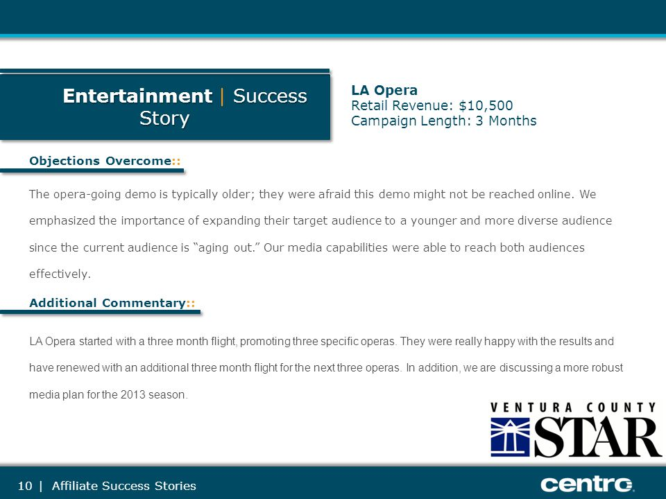 10 Entertainment Success Story Entertainment | Success Story Objections Overcome:: Additional Commentary:: The opera-going demo is typically older; th