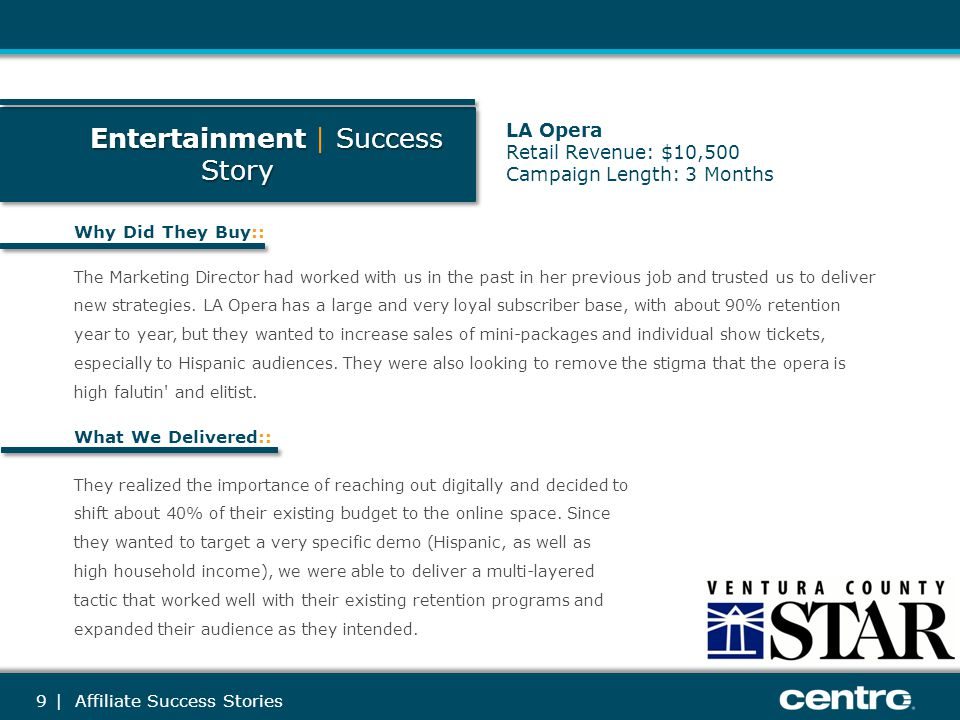 10 Entertainment Success Story Entertainment   Success Story Objections Overcome:: Additional Commentary:: The opera-going demo is typically older; they were afraid this demo might not be reached online.