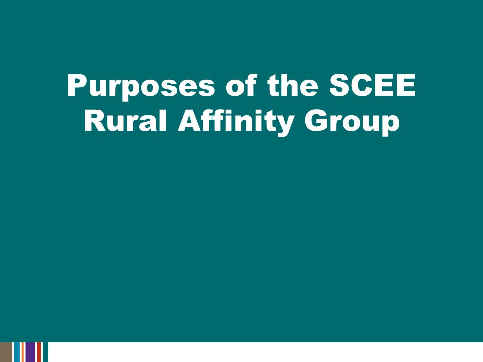 Purposes of the SCEE Rural Affinity Group