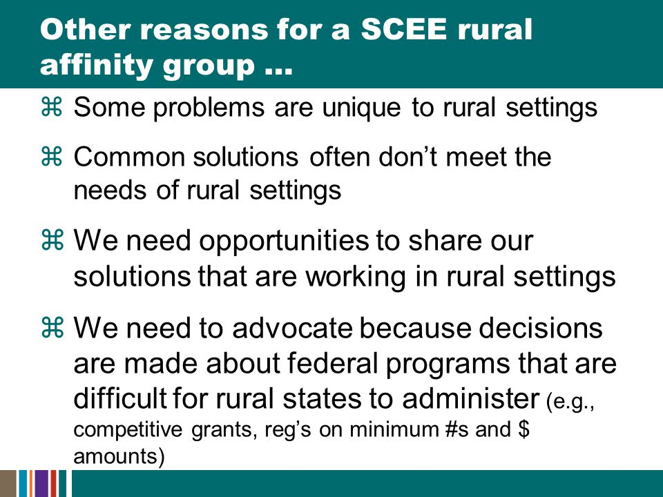 Other reasons for a SCEE rural affinity group …  Some problems are unique to rural settings  Common solutions often don't meet the needs of rural settings  We need opportunities to share our solutions that are working in rural settings  We need to advocate because decisions are made about federal programs that are difficult for rural states to administer (e.g., competitive grants, reg's on minimum #s and $ amounts)