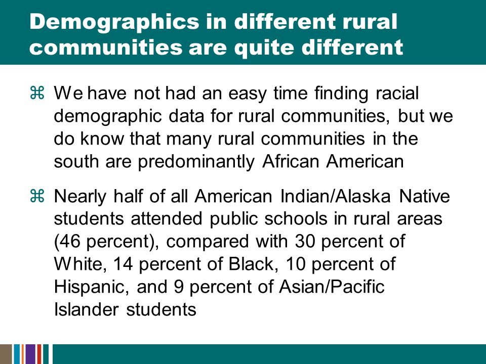 Demographics in different rural communities are quite different  We have not had an easy time finding racial demographic data for rural communities, but we do know that many rural communities in the south are predominantly African American  Nearly half of all American Indian/Alaska Native students attended public schools in rural areas (46 percent), compared with 30 percent of White, 14 percent of Black, 10 percent of Hispanic, and 9 percent of Asian/Pacific Islander students