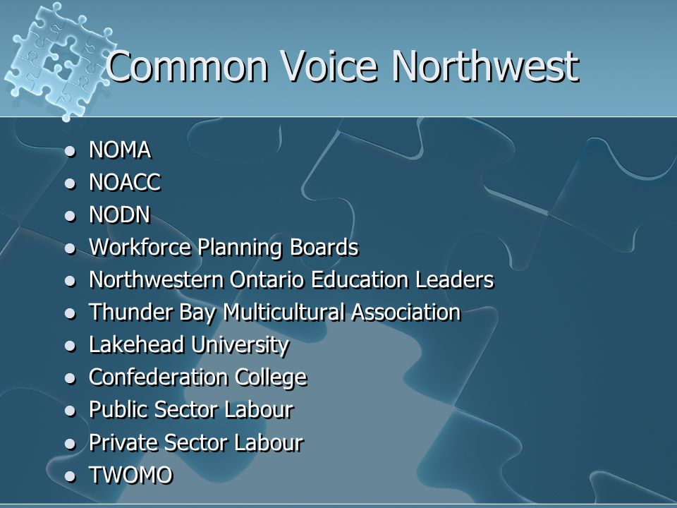 Common Voice Northwest NOMA NOACC NODN Workforce Planning Boards Northwestern Ontario Education Leaders Thunder Bay Multicultural Association Lakehead University Confederation College Public Sector Labour Private Sector Labour TWOMO NOMA NOACC NODN Workforce Planning Boards Northwestern Ontario Education Leaders Thunder Bay Multicultural Association Lakehead University Confederation College Public Sector Labour Private Sector Labour TWOMO