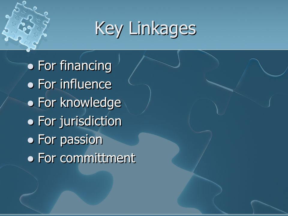 Key Linkages For financing For influence For knowledge For jurisdiction For passion For committment For financing For influence For knowledge For jurisdiction For passion For committment