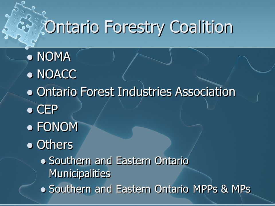 Ontario Forestry Coalition NOMA NOACC Ontario Forest Industries Association CEP FONOM Others Southern and Eastern Ontario Municipalities Southern and Eastern Ontario MPPs & MPs NOMA NOACC Ontario Forest Industries Association CEP FONOM Others Southern and Eastern Ontario Municipalities Southern and Eastern Ontario MPPs & MPs