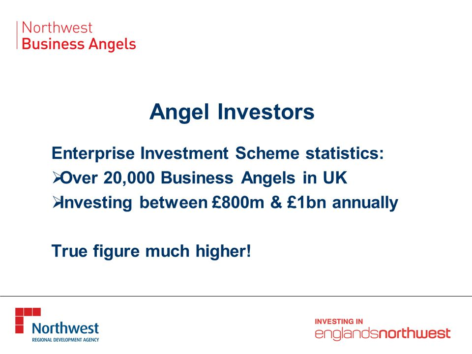 Angel Investors Enterprise Investment Scheme statistics:  Over 20,000 Business Angels in UK  Investing between £800m & £1bn annually True figure much higher!