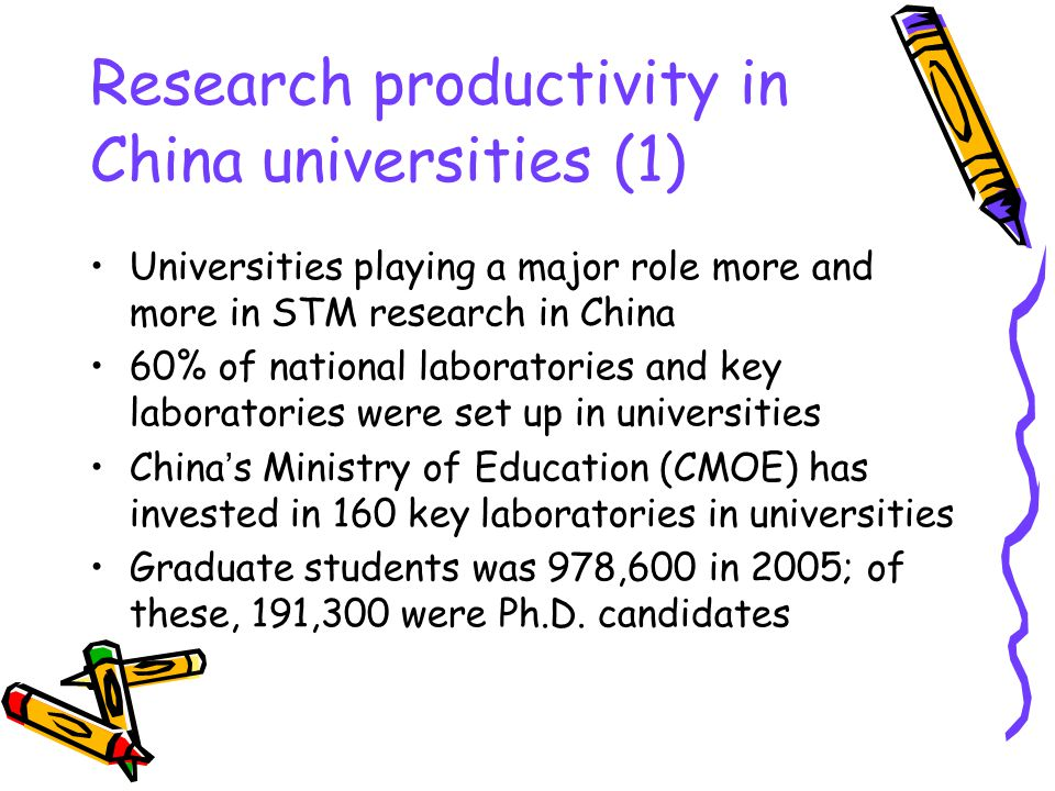 Research productivity in China universities (1) Universities playing a major role more and more in STM research in China 60% of national laboratories